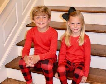 Christmas Pajamas, Christmas PJs, Christmas Set, Matching PJs, Family PJs, Pajamas, Buffalo Plaid, Christmas Plaid, Christmas Gown, Sibling