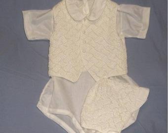 3 Pc Baby Boy Romper Vest Hat Set Infant 0-9 Mos Baby or Doll Baptism Set