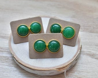 20% EARRING STUD SALE Gold Round Green Jade Bezel 14mm Stud Earrings/ Emerald Green Large Round Cabochon Gold Studs/ Natural Gemstone Minera