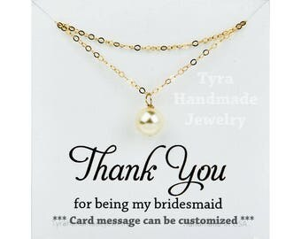Pearl bridesmaid necklace,Double Layer pearl necklace,Wedding Jewelry,Bridal jewelry,Birthday gift,Mother Gift,bridal party,custom note card