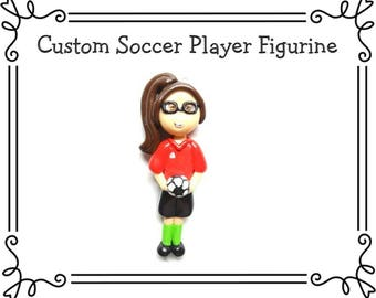 Custom Cold Porcelain Clay Soccer Player Figurine, Soccer Ornament, Pendant, Purse Charm, Magnet, Brooch, Bow Center /DIY Sports Necklace