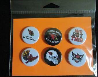 Arizona Cardinals Pin Back Buttons, Arizona Cardinals, Pin Back Buttons, Arizona Cardinal Magnets, Magnets, Novelty Pins, Novelty Magnets