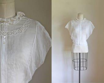 vintage 1930s blouse - FOG sheer organza top / L-XL