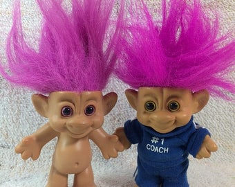 SUMMER SALE Forest Trolls #1 Coach Sports Purple Hair Treasure Trolls 1990s Kids Toys