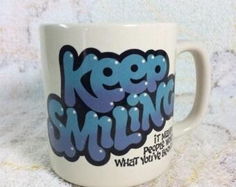 SUMMER SALE Retro 1983 Keep Smiling Mug Ceramic Korea Paula
