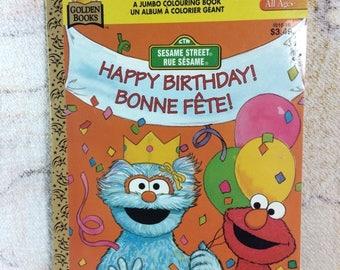 SUMMER SALE 1996 Golden Sesame Street Jumbo Coloring Book Unused Uncolored Muppets Jim Henson Happy Birthday