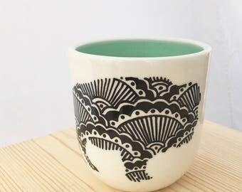 READY TO SHIP Hand painted wheel thrown porcelain bison handless mug