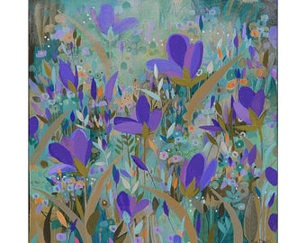 Wild! flowers, Painting on Canvas, 10x10 Original Art, home decor