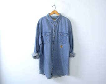 Vintage 90's denim shirt, chambray button up shirt, size XL