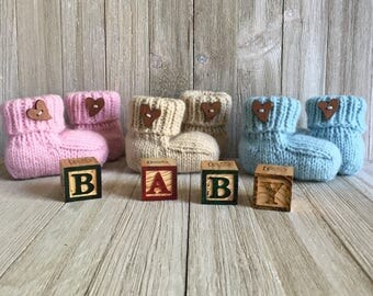 Gender Reveal Knitted Baby Booties - Baby Bootie - Knitted Baby Gift Set - Baby Shower Gift - Hand Knitted Baby Bootie - Gift Box