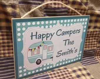 "Personalized Happy Campers Sign 10.5""x7"" Camping Plaque"