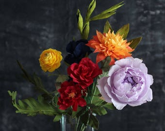 Love is Love Paper Flower Bundle - Rainbow Bouquet for Valentine's Day