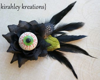 Eyeball Hair Clip Black Rose Flower Feather Steampunk Creepy Gothic EYE OF BEHOLDER Blood Shot Halloween Headpiece Custom Colors