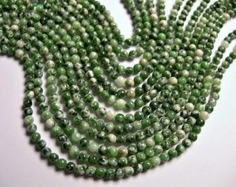 Green spot Jasper - 3mm round bead - 124 beads - full strand - PG64
