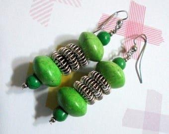 Green Springy Thing Boho Earrings (3686)