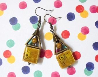 Rustic Mustard Yellow and Brass Ceramic Boho Earrings (2723)