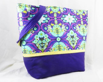 Large Purse, Shoulder Bag, Tula Pink Tote, Purple and Aqua, Slow and Steady, The Tortise, Blue Raspberry, Free Spirit, Handmade Library Bag