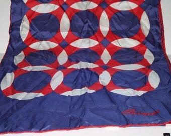 Vintage Red White Blue Silk Long Scarf Burmel Hand Rolled Hem Made Italy  Retro Fashion Head Scarf Neck Purse Kerchief Scarf Accessory