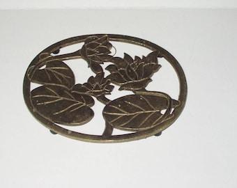 Vintage Lotus Water Lily Brass Clad Trivet Retro Kitchen Utensil Made Taiwan Decor Retro 10173