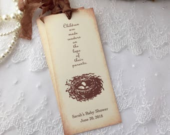 Personalized Bookmarks Bird Nest Baby Shower Favors Neutral Set of 10