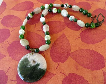Prehnite And Agate Beaded Necklace With Green Moss Agate Pendant