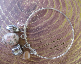 Adjustable Beaded Bangle Bracelet With Peach Pink And Silver Tones