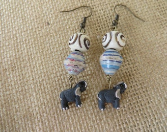 Dangling Clay Elephant Paper Beads And Bone Earrings