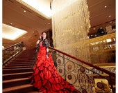 Stunning Red Wedding Dress Alternative Offbeat Gothic Bridal Gown with Stunning Long Train from Award Winning Wedding Dress Fantasy