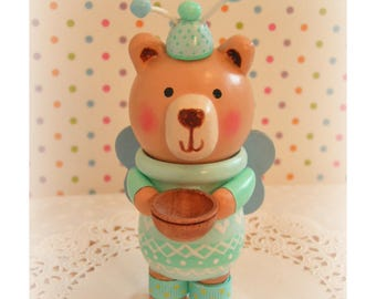Boy First 2nd 3rd 4th Birthday Teddy Bear Cake Topper/ Tooth Fairy, Tooth Beary, Personalized Tooth Fairy, Wood Gift Box, Trinket Box, Bank