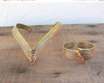 SALE 80s Brutalist Modernist Mixed Metal Choker Neck Cuff Necklace and Cuff Copper Brass Silver Deadstock