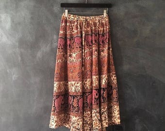 20% Off Sale 70s Block Print Indian Skirt Elephant Peacocks Tigers Midi A Line Bohemian Hippy High Waisted Drawstring Skirt 24-29""