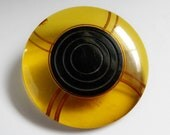 Large Art Deco Apple Juice Black Bakelite Button