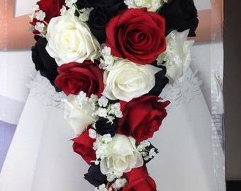 New Artificial Black Red And White Wedding Teardrop Bouquet 15 In Length