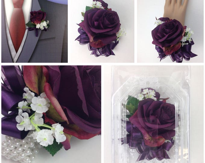 New Artificial Plum Rose Corsage, Plum Rose Mother's Corsage, Eggplant Corsage, Eggplant Bout