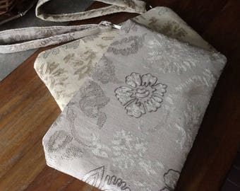Spacious Evening Wristlet Gold or Silver Embroidery pattern