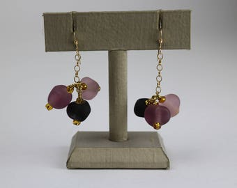 Purple Frosted Earrings