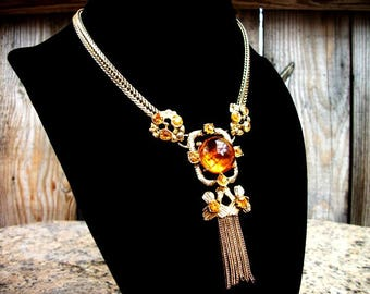 ART DECO Amber topaz rhinestone gold chain tassel pendant choker style necklace in vintage retro costume jewelry