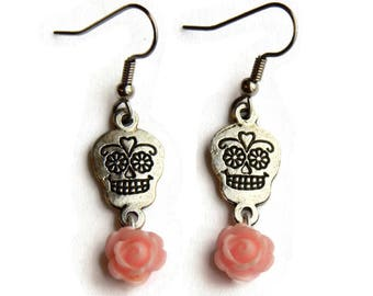 Sugar Skull and Light Pink Rose Earrings - Pink and silver - Day of the Dead - Dia de los Muertos - Halloween - Rockabilly - Nickel Free