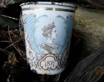 Antique Queen Victoria Enamel Jubilee Cup, 1837 to 1897, offered by RusticGypsyCreations