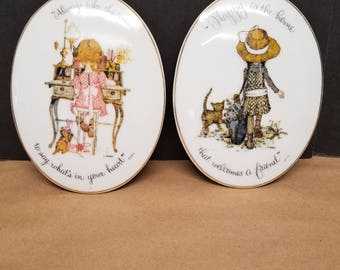 Vintage Pair of Holly Hobbie Hanging Plaques
