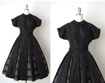 30% OFF SALE vintage 1950s dress / 50s stripe dress / 1950s Jane Andre dress / Pleasantville dress