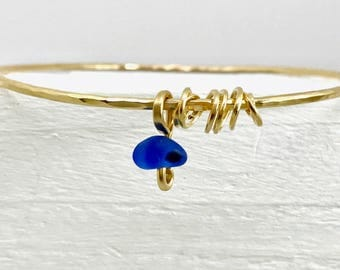Sea glass bangle, blue seaglass bangle, antique glass bracelet, genuine sea glass, blue gold bangle, gold bracelet, seaglass charm bangle