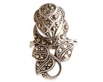 "Vintage Art Deco Sterling Silver Marcasite Rose Flower Ring - Wrap - Long - 1"" High - Size 6 - Signed UNCAS"
