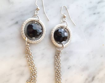 Black Silver Tassel Earrings Boho Bohemian Free US Shipping 011