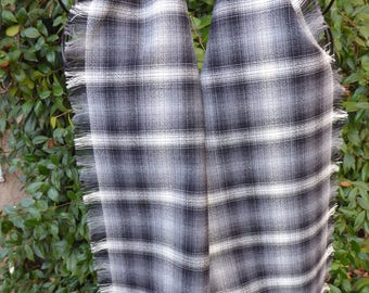 Black, gray and white plaid wool scarf, hand fringed