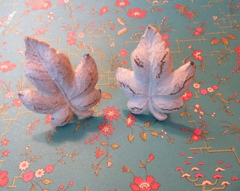 2 Cream Leaf Knobs Distressed Pulls for Drawers or Cabinets Made of Cast Iron Ready to Ship with Touch of Rust Patina B-10