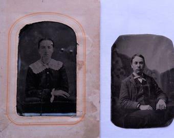 2 single tintype photos