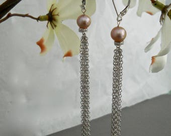 14 Kt Gold Tassel Earrings, White Gold Tassel, Pearl Earrings Long Dangle Earrings, Long Drop Earrings, Shoulder Dusters, Chain Earrings
