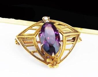 Art Nouveau 10K Gold Pin  Antique 1880s - 1900s Art Deco Purple Rhinestone & Seed Pearls Brooch - Victorian Era Jewelry - TheJewelSeeker