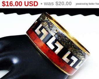 Enamel Greek Key Brass Bangle Bracelet - Red Wood Grain - Spinach Green - Onyx Black & Mother of Pearl Greek Key Design - Vintage 1980s